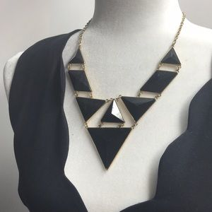 Triangle Statement Necklace | Black & Gold